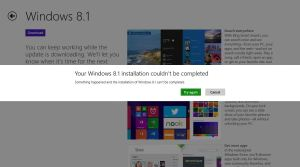 Your Windows 8.1 installation couldn't be completed - solved